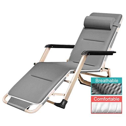 Tuinstoel Gewatteerde Zero Gravity Relaxer-stoel Gemakkelijk te gebruiken om in de zon achterover te leunen Buiten Patio Lounger Multi-positie Soepele bediening, grijs