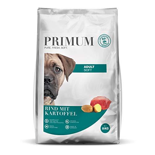 Primum | Soft Rind mit Kartoffel | 5 kg | Halbfeuchtes Hundefutter | Getreidefreies Trockenfutter | Hoher Fleischanteil | Optimal verdaulich | Hypoallergen
