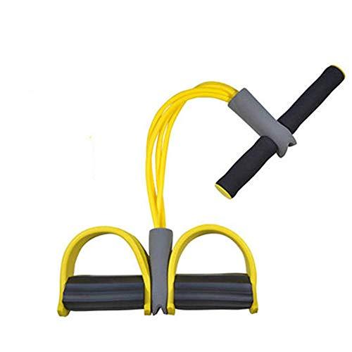 LanXi Multifunktions-Spannseil Widerstandstraining 4-in-1-Elastikseil mit Einstellbarer Spannung Abnehmbarer Gummi-Widerstandsgurt Multifunktions-Zugseil mit Pedalabzieher Yoga Fitness (Gelb)