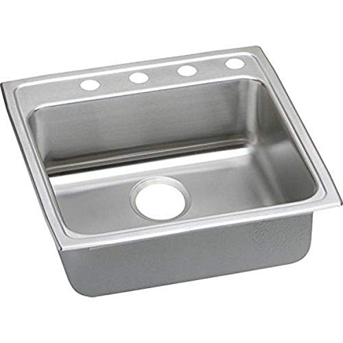 Elkay LRADQ2222503 3-Hole Gourmet 22-Inch x 22-Inch Drop-Inch Single Basin Stainless Steel Kitchen Sink