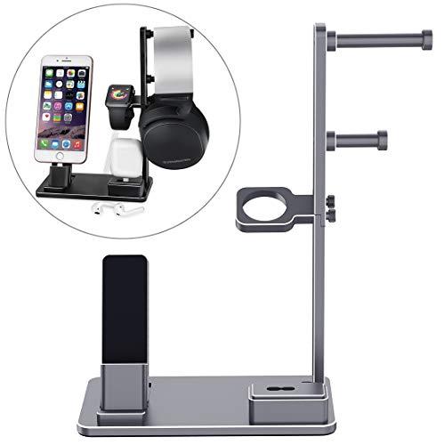Accesorios reloj inteligente 6 en 1 aleación de aluminio Base de carga del sostenedor del soporte de la estación, conveniente for Auriculares, AirPods, iPad, reloj, el iPhone ( Color : Grey )