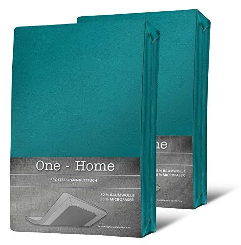 one-home 2er Pack Spannbettlaken FROTTEE 90x200 cm - 100x200 cm Petrol Spannbetttuch