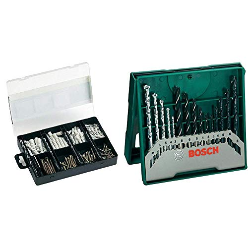 Bosch 2607019511 - Set de fijación práctico con 173 unidades & Mini X-Line - Set de 15 brocas mixto: mini x-line (ref. 2607019675)