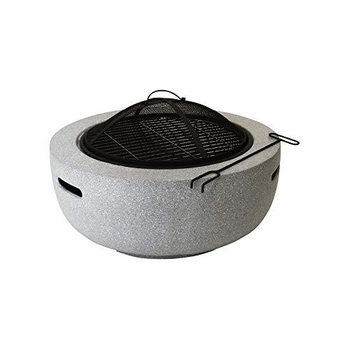 Esschert Design Feuerschale Größe S aus MGO/Eisen, Ø 59,8 x 35,2 cm, mit Kohle-Gabel und Funkenschutz, 2in1 Feuerschalle und Grill