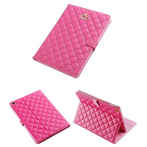 HaoHZ IPad 9.7 2018/2017 Case,Crown Design Bling Diamond Cute Elegant Premium PU Leather with Closure Smart Auto Sleep/Wake Stand Shockproof Case for Apple iPad 9.7 iPad 5th / 6th Generation,Red