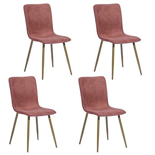 FurnitureR Set de 4 sillas de Comedor de Cocina, ensamble los 4 en 5 Minutos, sillas Laterales de cojín de Tela con Patas de Metal dorado Resistentes para la Sala de Estar de la...