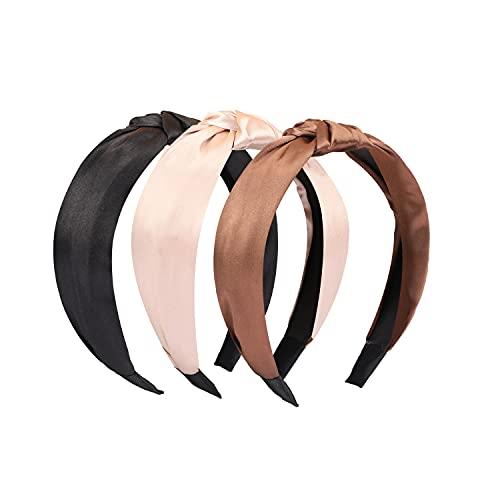 Manshui 3 Piezas diademas con nudos cruzados para nias y mujeres, turbante diadema de tela de moda, accesorios para el cabello (Grupo satinado)