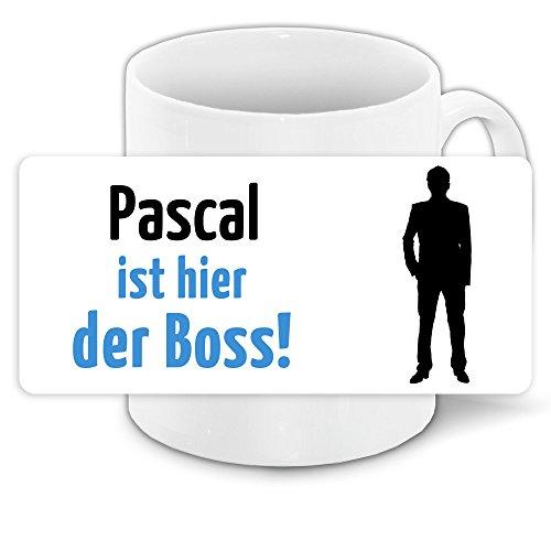 Tasse mit Motiv und Namen - Pascal ist der Boss - | Büro-Tasse | Lustiger Becher
