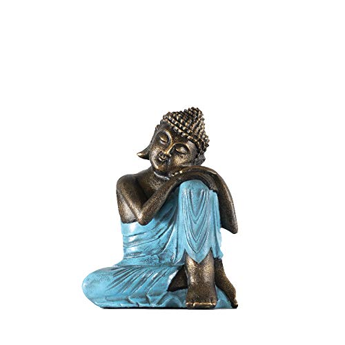 Edenjardi Figura de Buda descansando en Color Turquesa | 30 cm de Alto