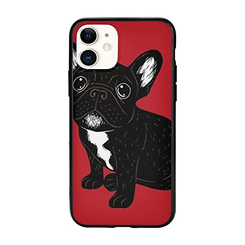 Cute Brindle Frenchie Puppy Compatible with iPhone 11 Pro Max-6.5 Cases,Non-Slip TPU Protective Case Cell Phone Cover for Women Men Girls Gift