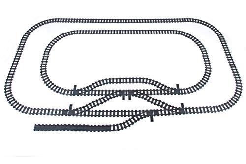 Steinchenshop City Bausteine Schienen Set Kurven Weiche Gerade kompatibel mit dem Marktführer (102 Teile)