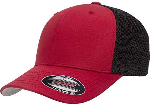 Flexfit Unisex-Erwachsene Trucker Mesh Fitted Cap-2-Tone Kappe, rot/schwarz, Einheitsgröße