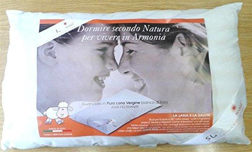 Lana & Co Cuscino Comfort Pura Lana Vergine Antifeltrente gr.1200 Federa Puro Cotone Percalle Zip