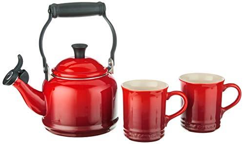 Le Creuset Enamel On Steel Demi Kettle & Stoneware Set of 2 Mugs, 1.25 qt. Kettle & (2) 14 oz. Mugs, Cerise,QS9403-67,3