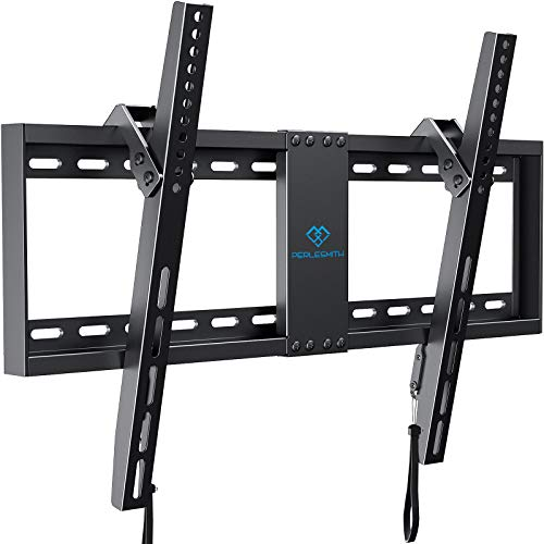 "PERLESMITH Tilt Low Profile TV Wall Mount Bracket for 32-82 Inch LED LCD OLED Flat Screen TVs - Fits 16""- 24"" Wood Studs, Tilting TV Mount with VESA 600x400 Holds up to 132lbs"