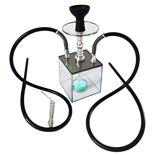 SENDEREAL Hookah Set 2 Hose Modern Style Acrylic Hookah with Colorful Led Light Silicone Bowl and Carbon Clip Wonderful Hookah Shisha Experience
