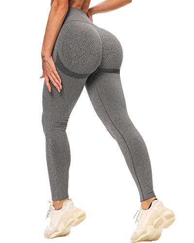 STARBILD Leggings Mallas Mujer sin Costuras Push up Pantalones Largos de Compresión Cintura Alta Elástico y Transpirable para Yoga Gym Fitness Running #Booty-Gris Oscuro S