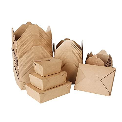 DeinPack Take Away Lot de 280 boîtes alimentaires bio avec couvercle pliable 1100 ml I Boîte en carton rectangulaire I Carton kraft marron compostable I Boîtes jetables à emporter (750 ml)