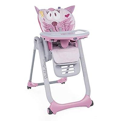 Chicco Polly 2 Start Trona y hamaca transformable y compacta, con 4 ruedas y freno, de 0 a 3 años, diseño gato rosa (Miss Pink)