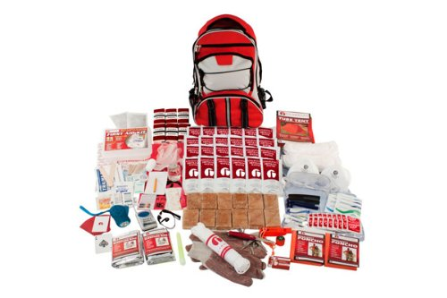 Guardian Survival Multi-Pocket Hiker's Elite Emergency Kit, 2 Person, Red Backpack