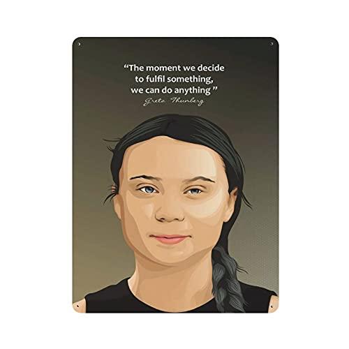 Greta Thunberg Retro Poster Motivazionale Citazione 4 Targa in metallo di latta Chic Art Retro Iron Painting Bar People Cave Cafe Family Garage Poster Decorazione da parete 40 x 30 cm