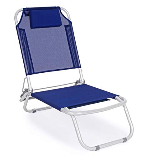PEGANE Chaise Longue Relax Coloris Bleu - Dim : L 84 x P 46 x H 73 cm