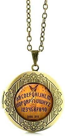 Vintage, Ouija Board Locket Necklace,Antique Photo Glass Pendant Jewelry