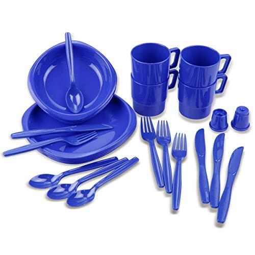 Black Snake® Camping Geschirrset 26 TLG. bruchfestes Outdoor Geschirr und Besteck Set - Royal Blau