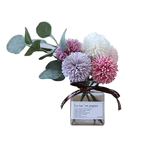 Billibobbi Artificial Flowers With Vase Fake Ball Chrysanthemum Flowers In Thin Glass Vase Faux Flower Arrangements For Home Decor Green Small Buy Online In Cayman Islands At Cayman Desertcart Com Productid 95540187