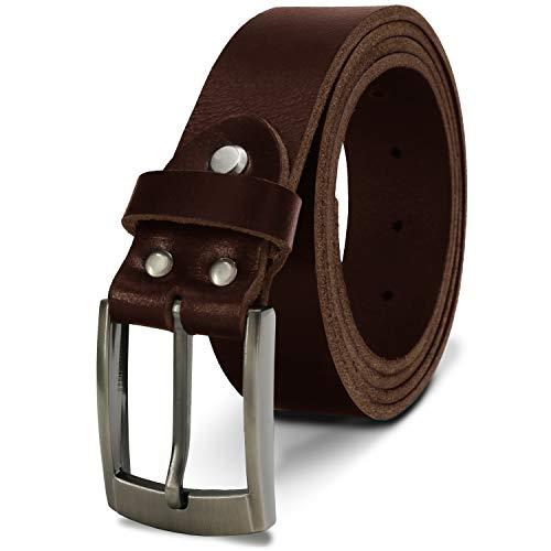 Fa.Volmer ® riem gemaakt van buffelleer voor mannen en vrouwen in zwart en bruin/lederen riem 35 mm breed en kan worden ingekort, type: # Jens-35 mm