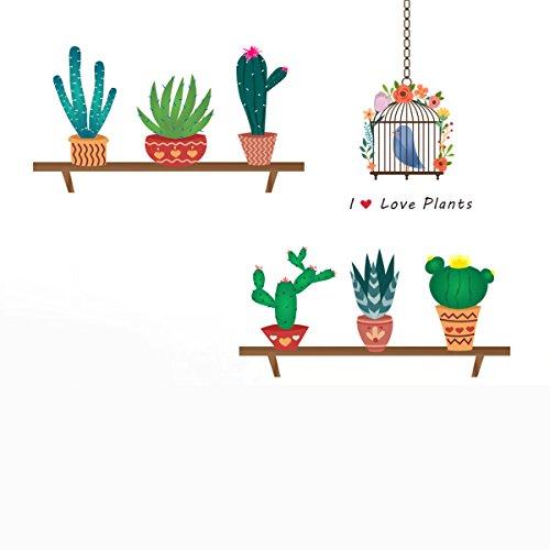 Adesivi da parete cartoni WINOMO Adesivo murale con Piante in vasi Gabbia Uccello e Frase I love Plants