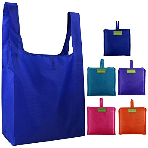 Reusable Grocery Bags Set of 5, Grocery Tote Foldable into Attached Pouch, Ripstop Polyester...