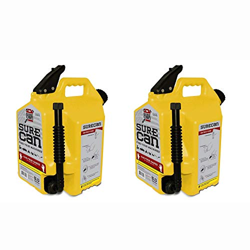Surecan 5 Gallon Self Venting Diesel Fuel Can w/Rotating Spout, Yellow (2 Pack)