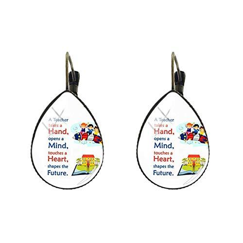 Pendientes de clip con diseño de lágrima para el profesor que ama la enseñanza, hechos a mano, para regalar el día del profesor
