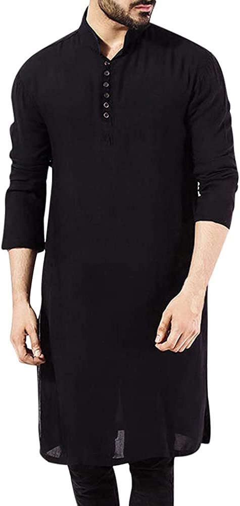 Boyland Mens Solid Color Stand Collar Robe Loose Mid Long Button Closure Robe