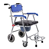 Duschkommode Mobiler Stuhl Rollstuhl Toilette Töpfchen Stuhl Medizinischer Transport Rollstuhl für ältere Menschen mit Behinderungen Schwangere Max.150kg