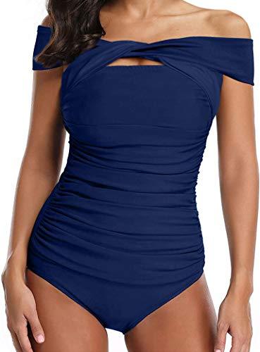 Ocean Plus Mujer Bañador de Dos Tonos con Forma de Figura de Una Sola Pieza con Asimétrica y Espalda Nadador (EU 36-38 (M), Azul Marino)