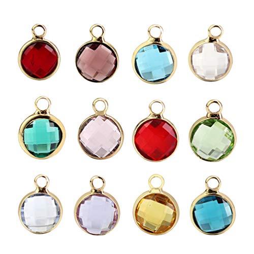 Healifty - Abalorios de Cristal de Colores para Pulsera o Collar, 12 Unidades (Borde Dorado)