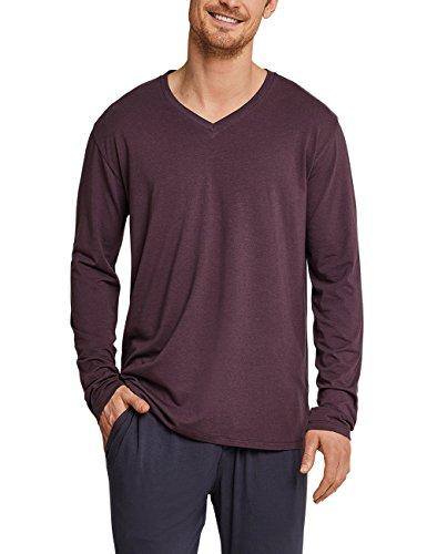 Schiesser Herren Mix & Relax Langarmshirt V-Ausschnitt Schlafanzugoberteil, Rot (Rotbraun 531), Medium (Herstellergröße: 050)