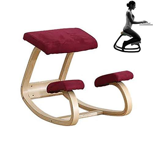 Ergonomischer Kniestuhlhocker, Home-Office-Möbel Ergonomischer Schaukelstuhl aus Holz, für Mann/Frau, Bestes Geschenk, Rot