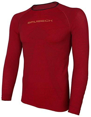 BRUBECK T-Shirt Course à Pied Homme | Maillot Manches Longues | Respirant | Sport | Outdoor | Courir | Running | Structure 3D | LS13000 | Rouge Foncé | XL