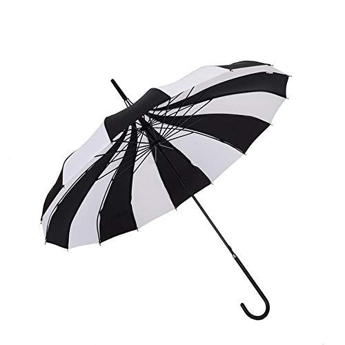 Peak Shaped Sun UV Schutz Sonnenschirm Regenschirm, Retro Pagode Regenschirm mit Hakengriff, Frauen Schwarz Weiß Streifen Reise Regen Regenschirm für Hochzeit Sonnenschirm Braut