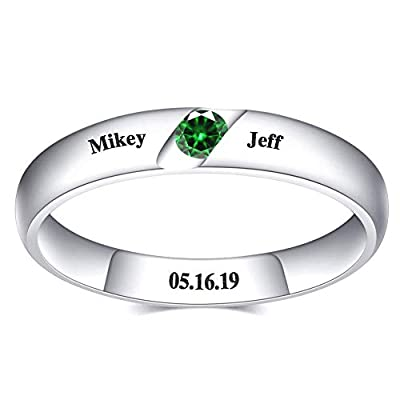Personalized Birthstone Ring, 925 Sterling Silv...