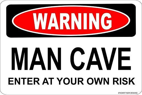 Placa de hierro para colgar cuadros,hombre de advertencia,CAVE,ingrese a su propio riesgo,novedad,señal de peligro,12 x 16 pulgadas,señales de advertencia,adecuadas para interiores y exteriores