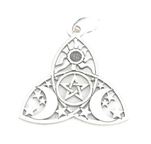 Personaliza plata-Triqueta celta con sol,triple luna y estrellas en plata de ley 925