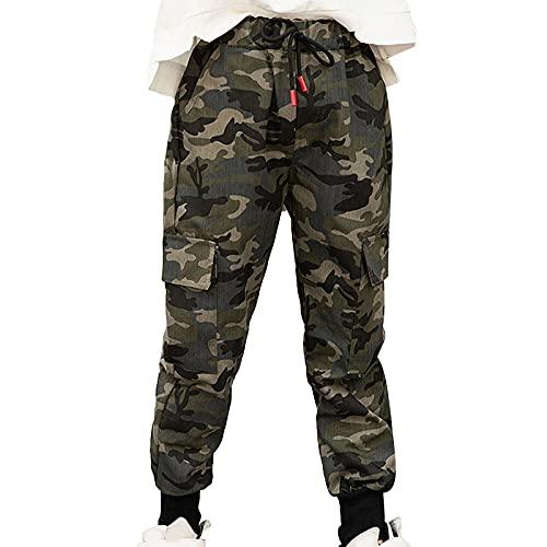 TiaoBug Pantalones de Carga Militares de Algodón para Niños Pantalones largos de Camuflaje Casuales Pantalón de Chándal Hip Hop Verde 10-12 años