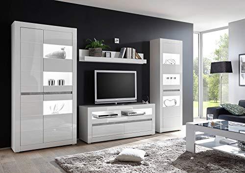 Newfurn Wohnwand Anbauwand Modern Wohnzimmerschrank Wohnlandschaft Mediawand Fernsehschrank II 316x198x 35-42 cm (BxHxT) II [Finn.Two Concept] in Weiß/Weiß Hochglanz Wohnzimmer