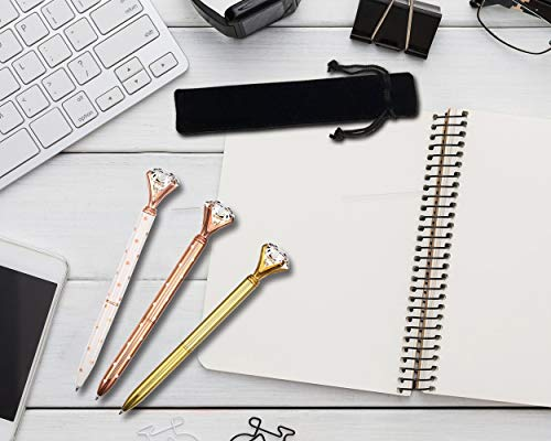 DS.DISTINCTIVE STYLE Diamond Ballpoint Pen Set of 5 Bling Metal Ballpoint Pen with 5pcs Refills Black Ink Crystal Shape Pens for School Office Photo #5