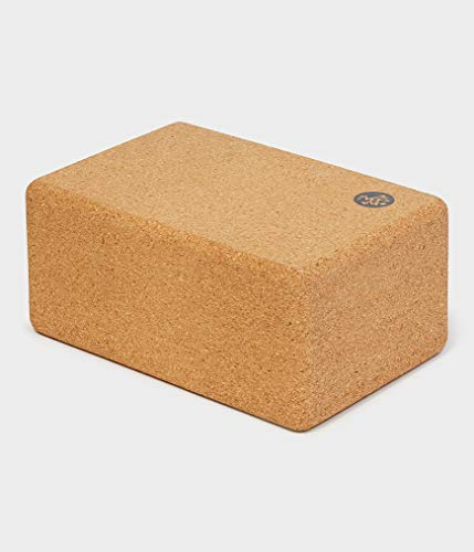 Manduka Welcome Cork Yoga Block, Light Brown, Resilient Material, Portable Fit & Easy to Grip, Comfortable Contoured Edges
