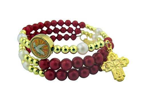 Catholc Teen Girls Confirmation Jewelry Gift 6MM Acrylic Gold Tone Red Holy Dove Bead with 4 Way Scapular and Miraculous Medal Charm 7 1/2 Inch Rosary Wrap Bracelet